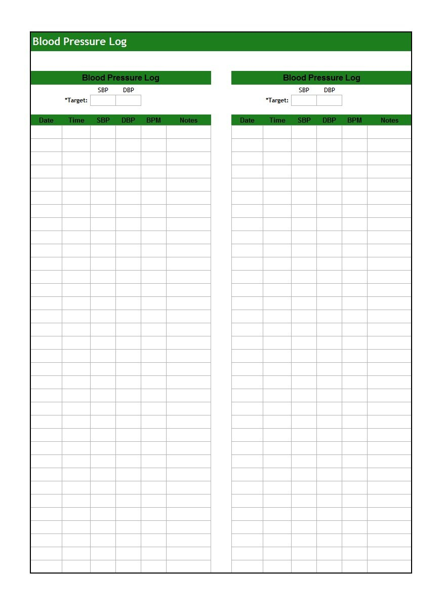 30+ Printable Blood Pressure Log Templates - Template Lab - Free Printable Vital Sign Sheets