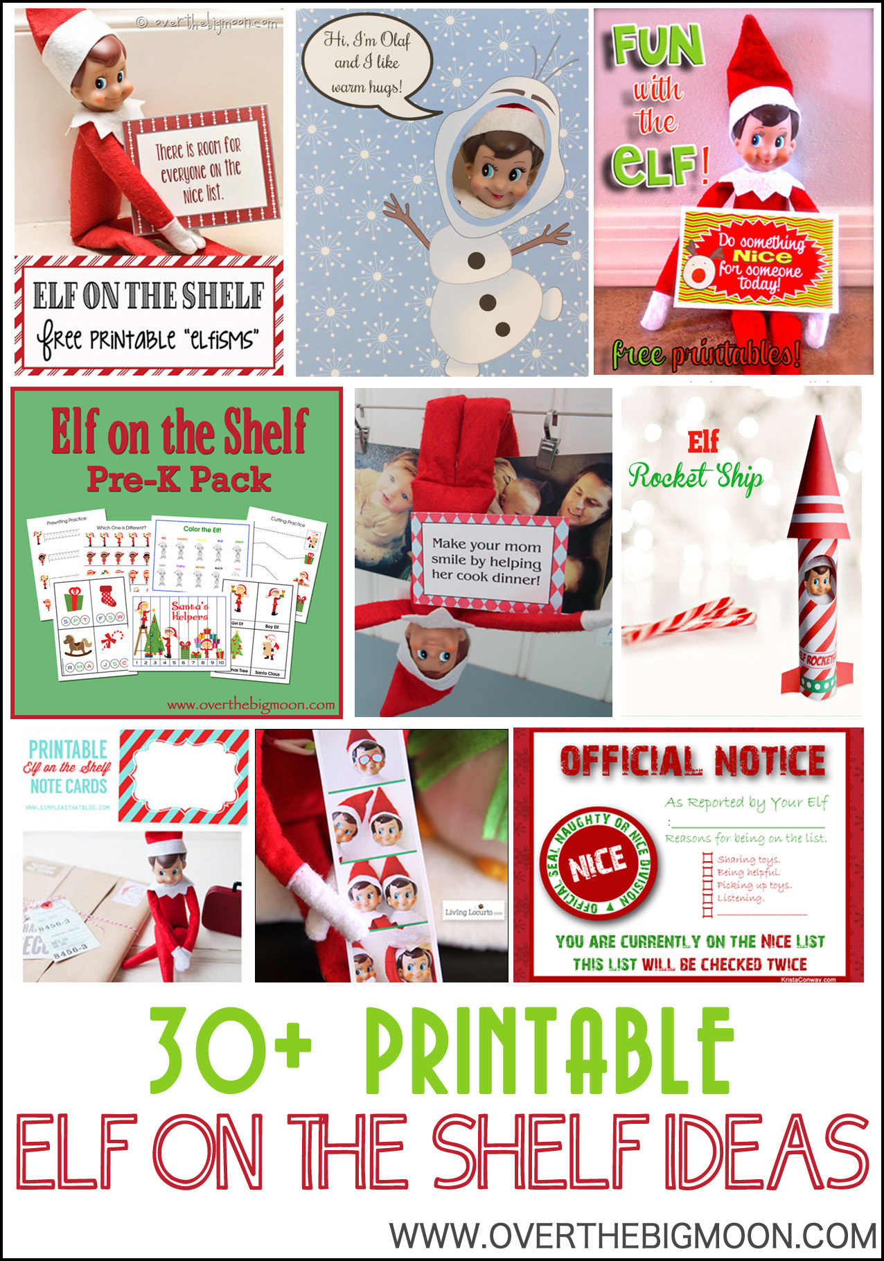 30+ Printable Elf On The Shelf Ideas - Over The Big Moon - Free Printable Elf On The Shelf Notes