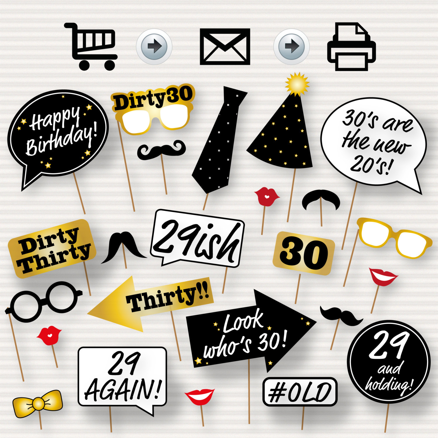 30Th Birthday Party Printable Photo Booth Props Glasses | Etsy - Free Printable 30Th Birthday Photo Booth Props
