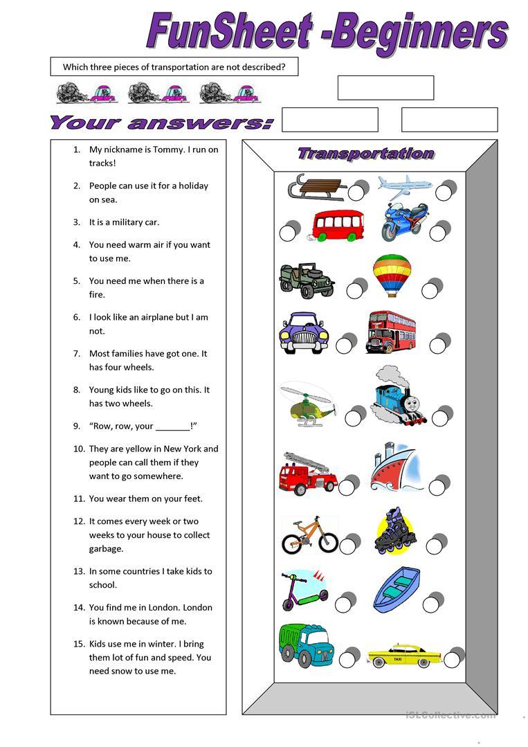 310 Free Esl Means Of Transport Worksheets - Free Printable Transportation Worksheets For Kids