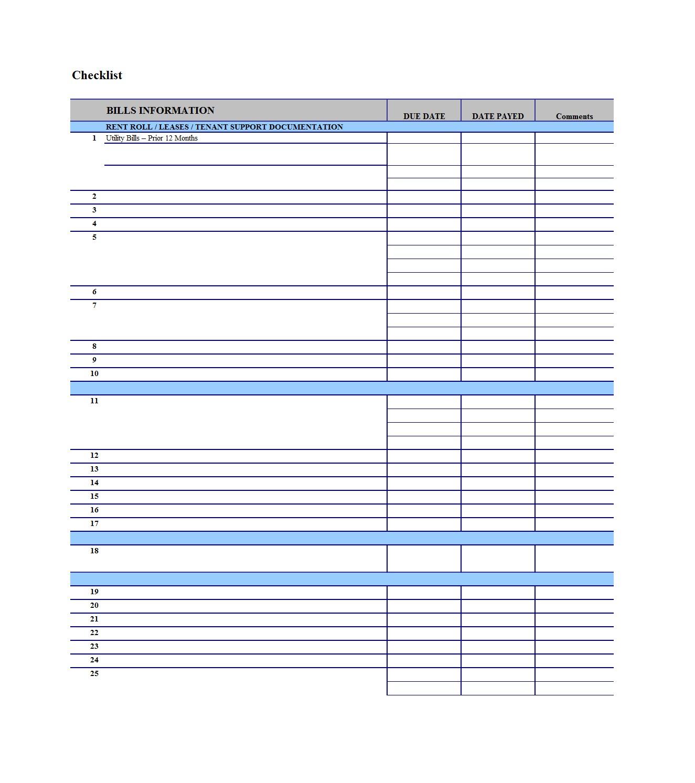 32 Free Bill Pay Checklists & Bill Calendars (Pdf, Word & Excel) - Free Printable Bill Pay Checklist