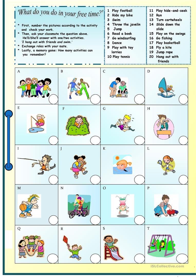 325 Free Esl Free Time, Leisure Activities Worksheets - Free Printable Esl Resources