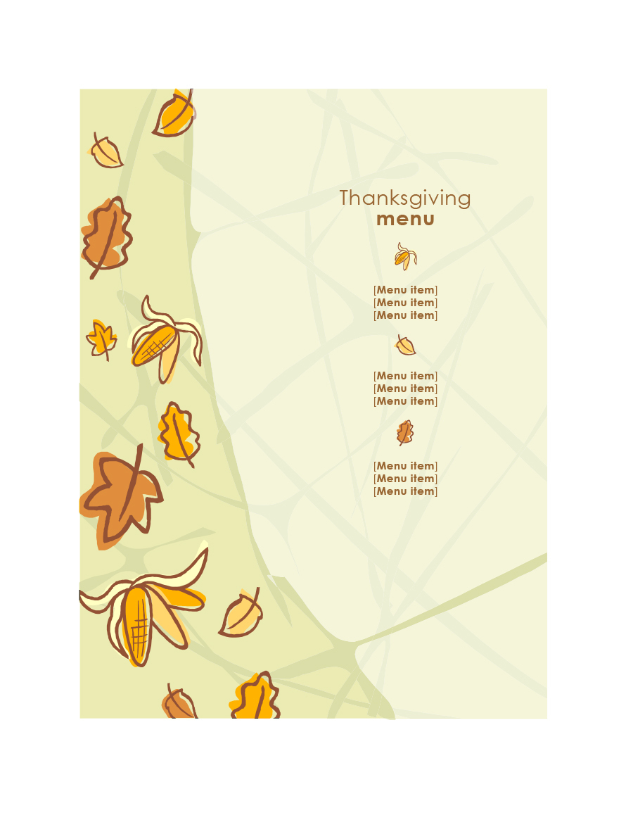 35 Awesome Thanksgiving Menu Templates ᐅ Template Lab - Free Printable Thanksgiving Menu Template