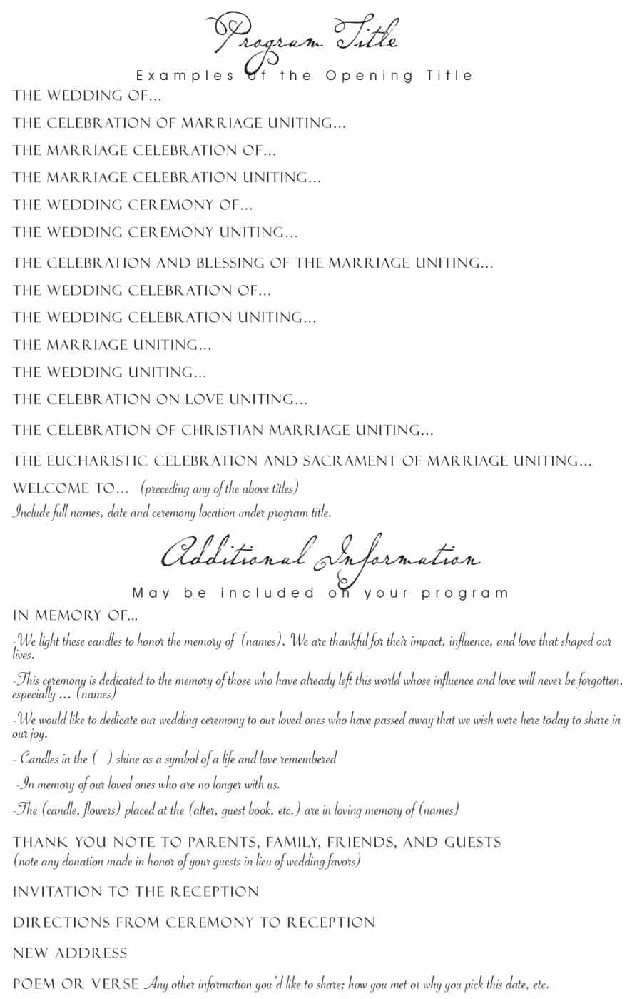 37 Printable Wedding Program Examples & Templates - Template Lab - Free Printable Wedding Program Templates