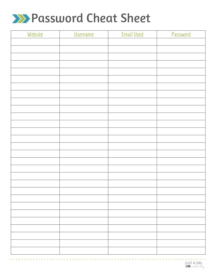 39 Best Password List Templates (Word, Excel & Pdf) - Template Lab - Free Printable Password Log