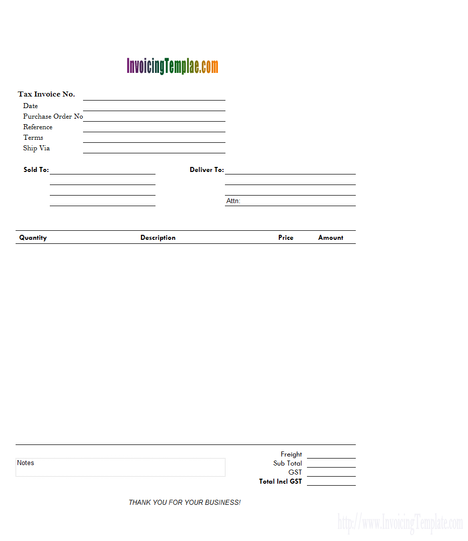 4-Column Invoice Templates - Free Printable Catering Invoice Template