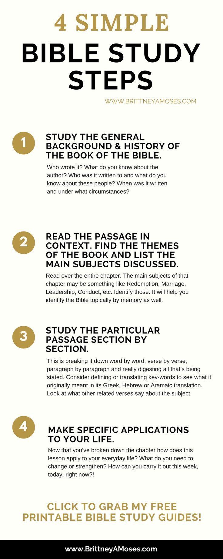 4 Simple Bible Study Steps | God's Word | Pinterest | Bible Study - Free Printable Bible Study Guides