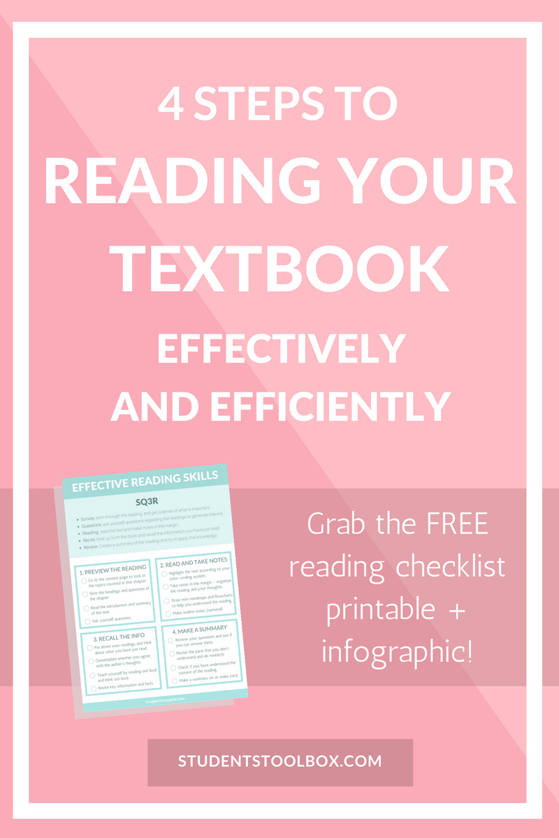 4 Steps To Reading Your Textbook Efficiently | Note Taking - Free Printable Textbooks