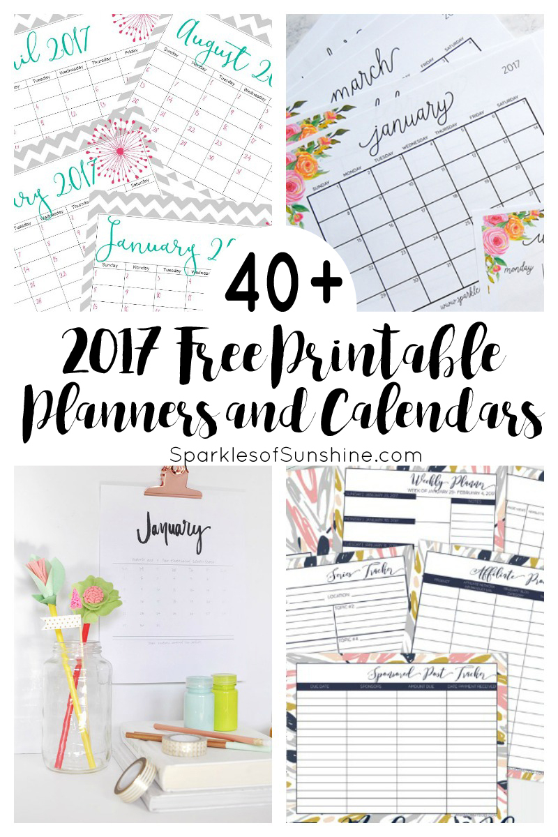 40+ Awesome Free Printable 2017 Calendars And Planners - Sparkles Of - Free 2018 Planner Printable