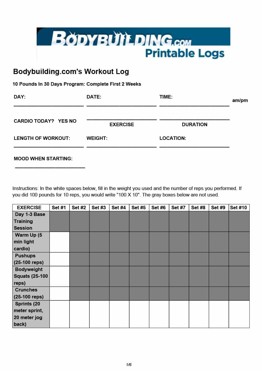 40+ Effective Workout Log & Calendar Templates - Template Lab - Free Printable Gym Workout Plans
