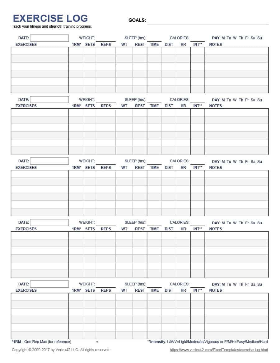 40+ Effective Workout Log & Calendar Templates - Template Lab - Free Printable Workout Log Template