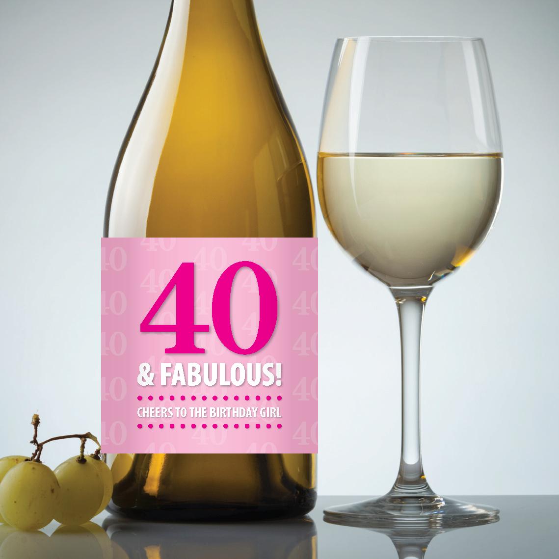 40 & Fabulous – 40Th Birthday Pdf Printable Wine Label Download In - Free Printable Wine Labels For Birthday