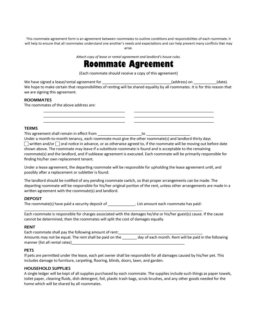 40+ Free Roommate Agreement Templates & Forms (Word, Pdf) - Free Printable Roommate Rental Agreement