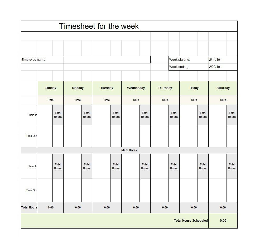 40 Free Timesheet / Time Card Templates - Template Lab - Free Printable Weekly Time Sheets