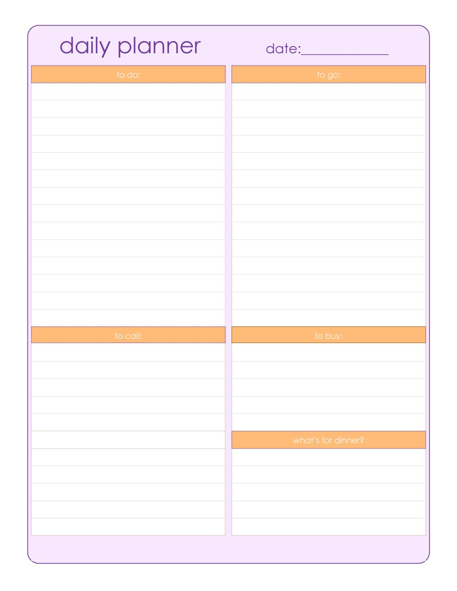 40+ Printable Daily Planner Templates (Free) ᐅ Template Lab - Free Printable Academic Planner