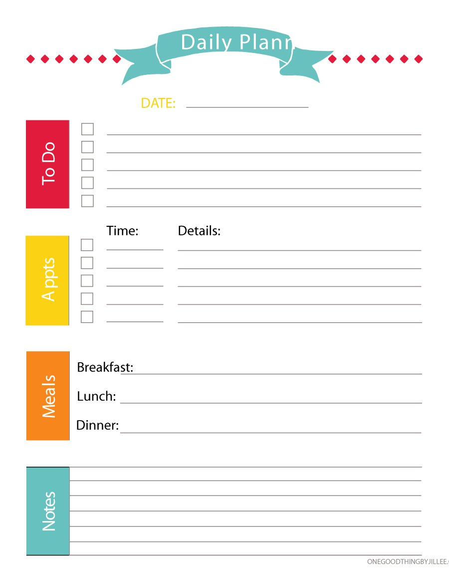 40+ Printable Daily Planner Templates (Free) - Template Lab - Free Printable Daily Schedule Chart