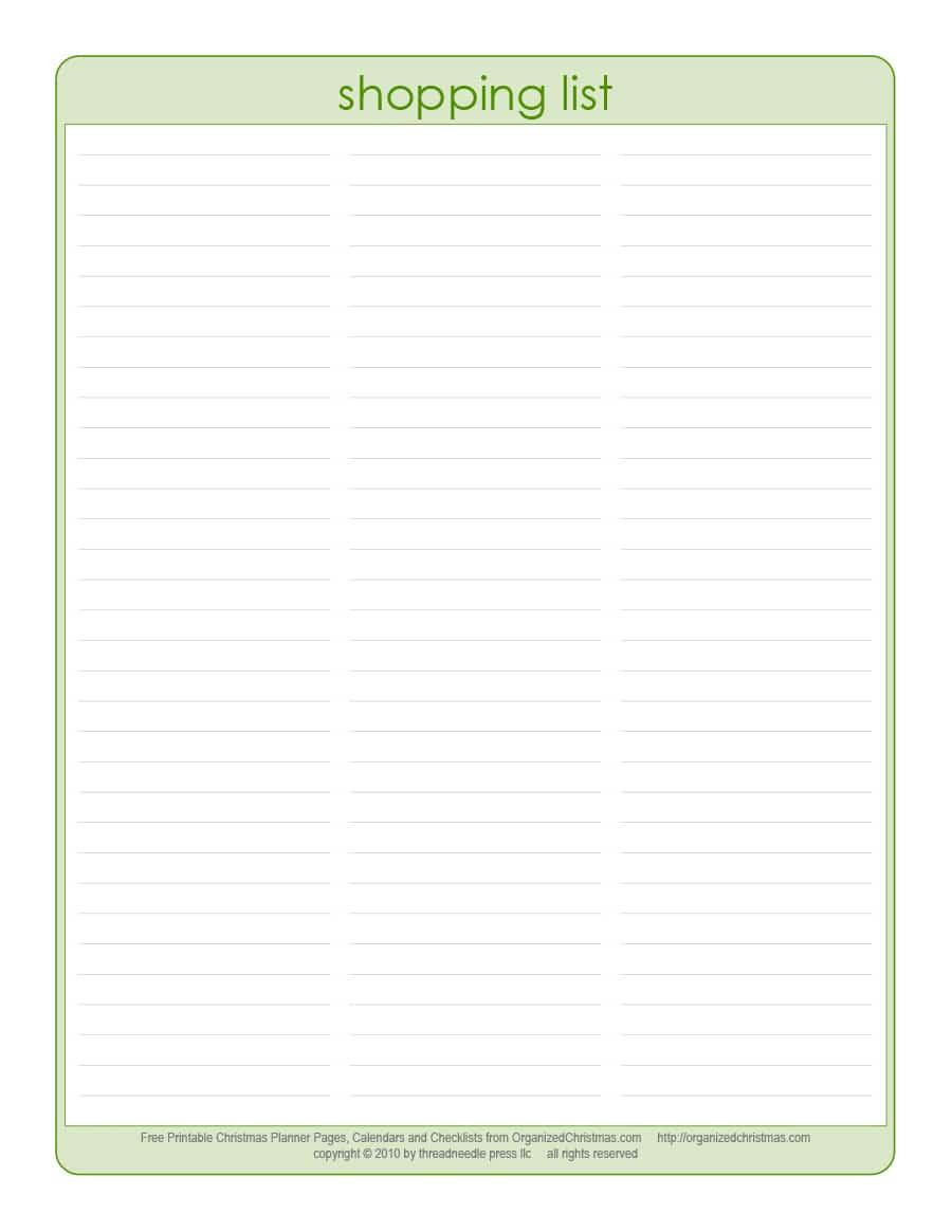 40+ Printable Grocery List Templates (Shopping List) - Template Lab - Free Printable Shopping List