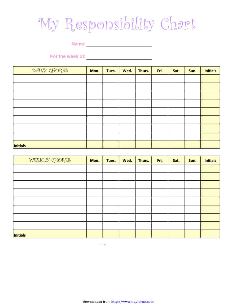 43 Free Chore Chart Templates For Kids - Template Lab - Free Printable Charts And Lists