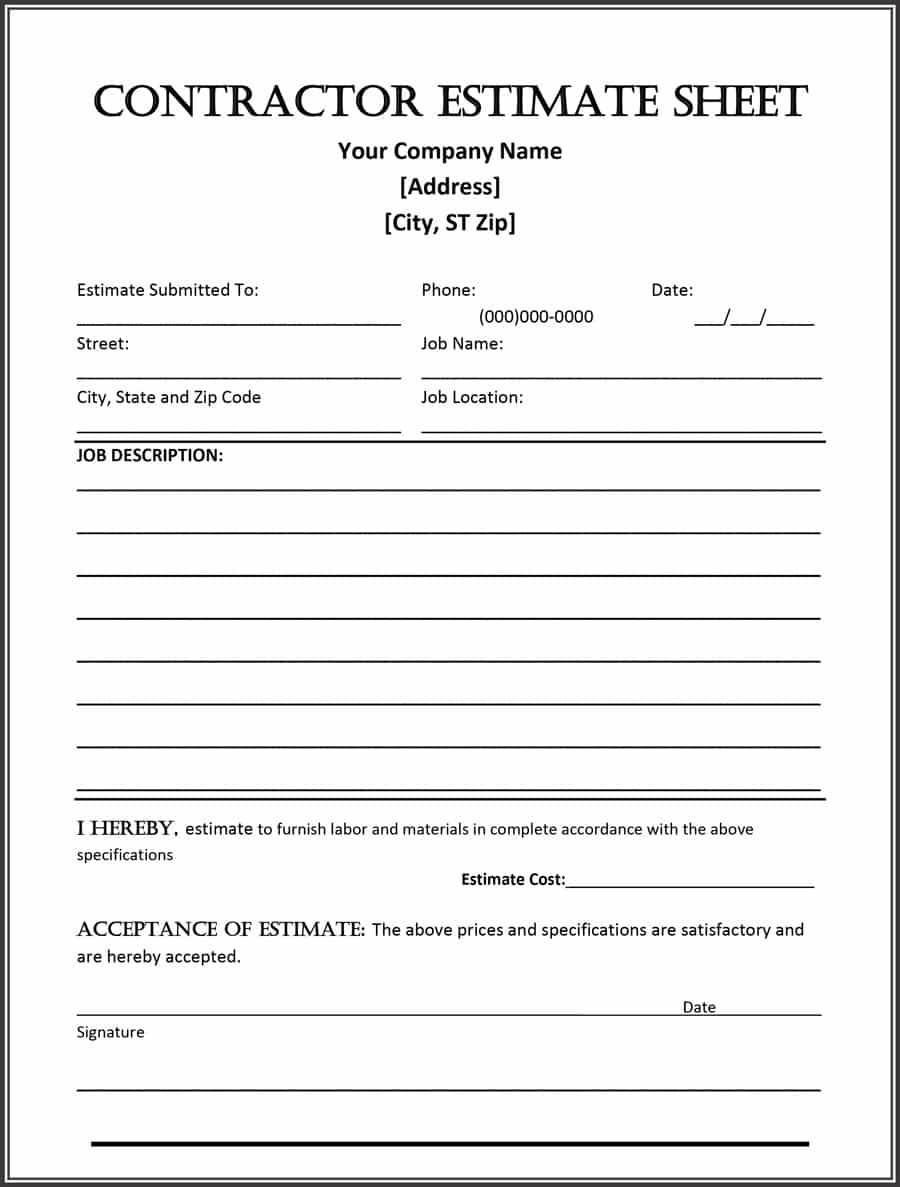 44 Free Estimate Template Forms [Construction, Repair, Cleaning] - Free Printable Contractor Bid Forms