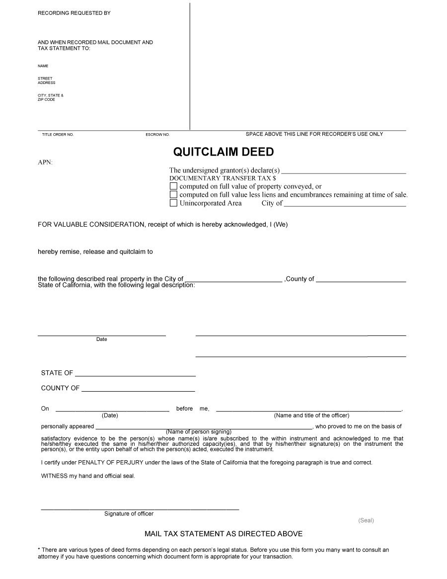 46 Free Quit Claim Deed Forms & Templates - Template Lab - Free Printable Quit Claim Deed Washington State Form