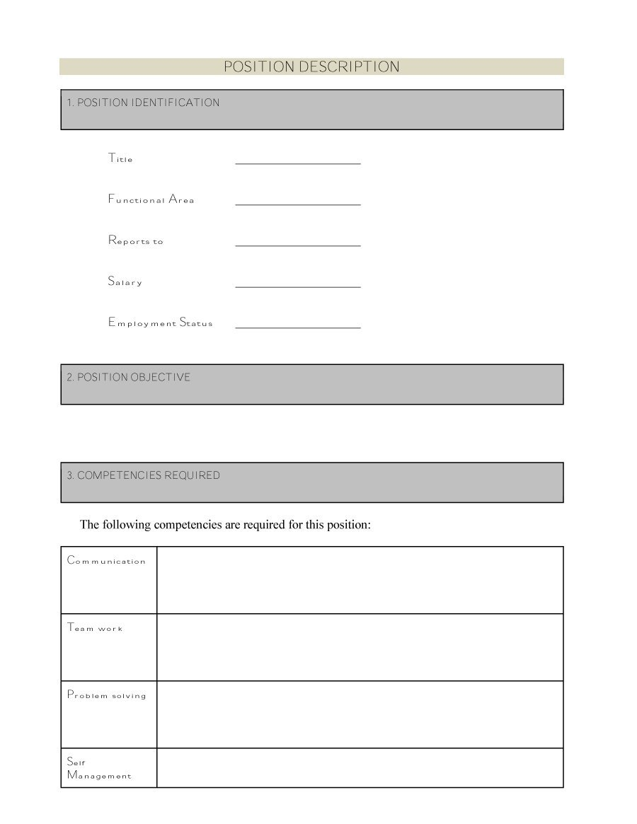 47 Job Description Templates & Examples - Template Lab - Free Printable Job Description Template