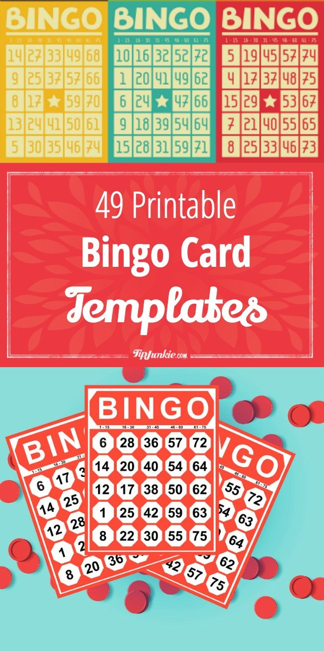 49 Printable Bingo Card Templates – Tip Junkie - Free Printable Bingo Cards With Numbers