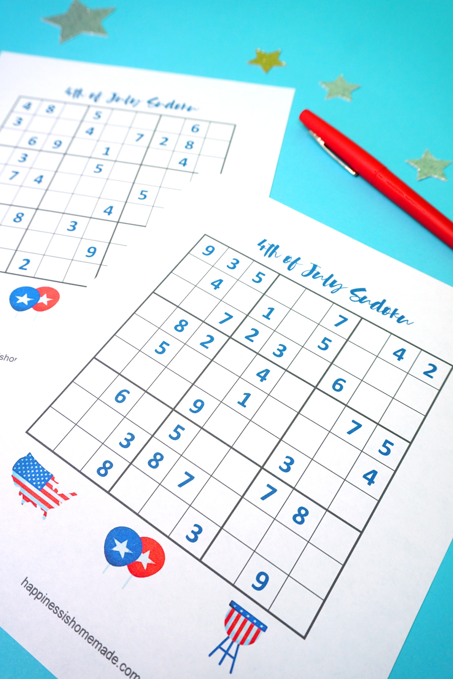 4Th Of July Printable Sudoku Puzzles + Logic Puzzle - Happiness Is - Free Printable Sudoku Puzzles