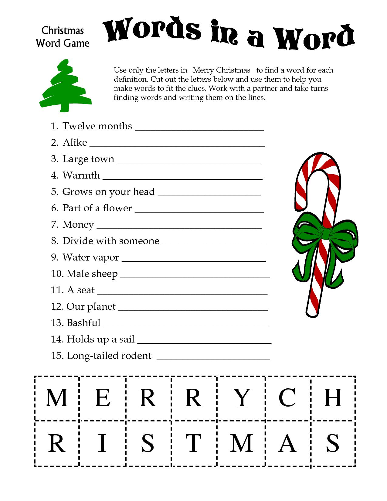 5 Images Of Free Printable Christmas Word Games | Printablee - Free Games For Christmas That Is Printable