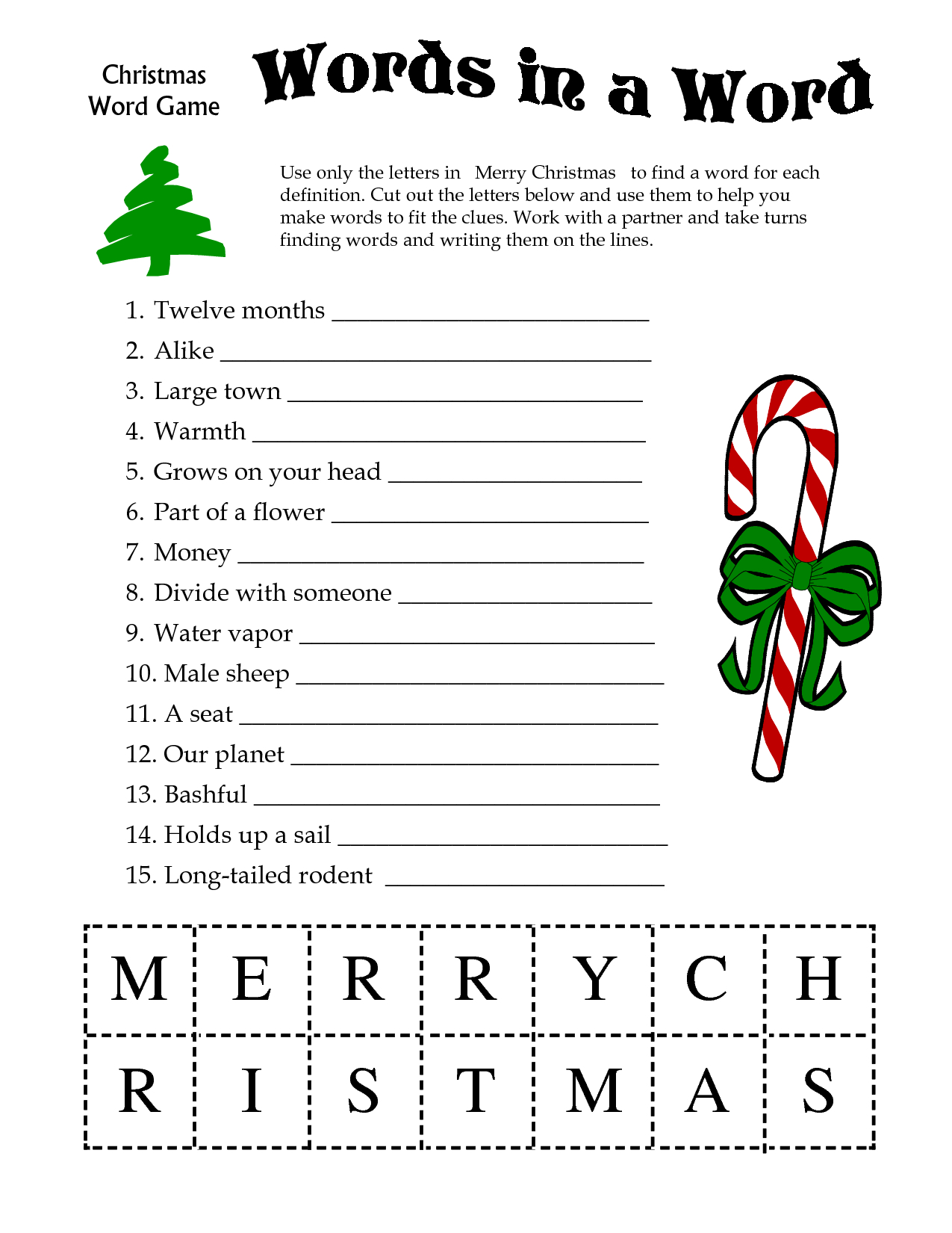 5 Images Of Free Printable Christmas Word Games   Printablee - Free Printable Picture Dictionary For Kids