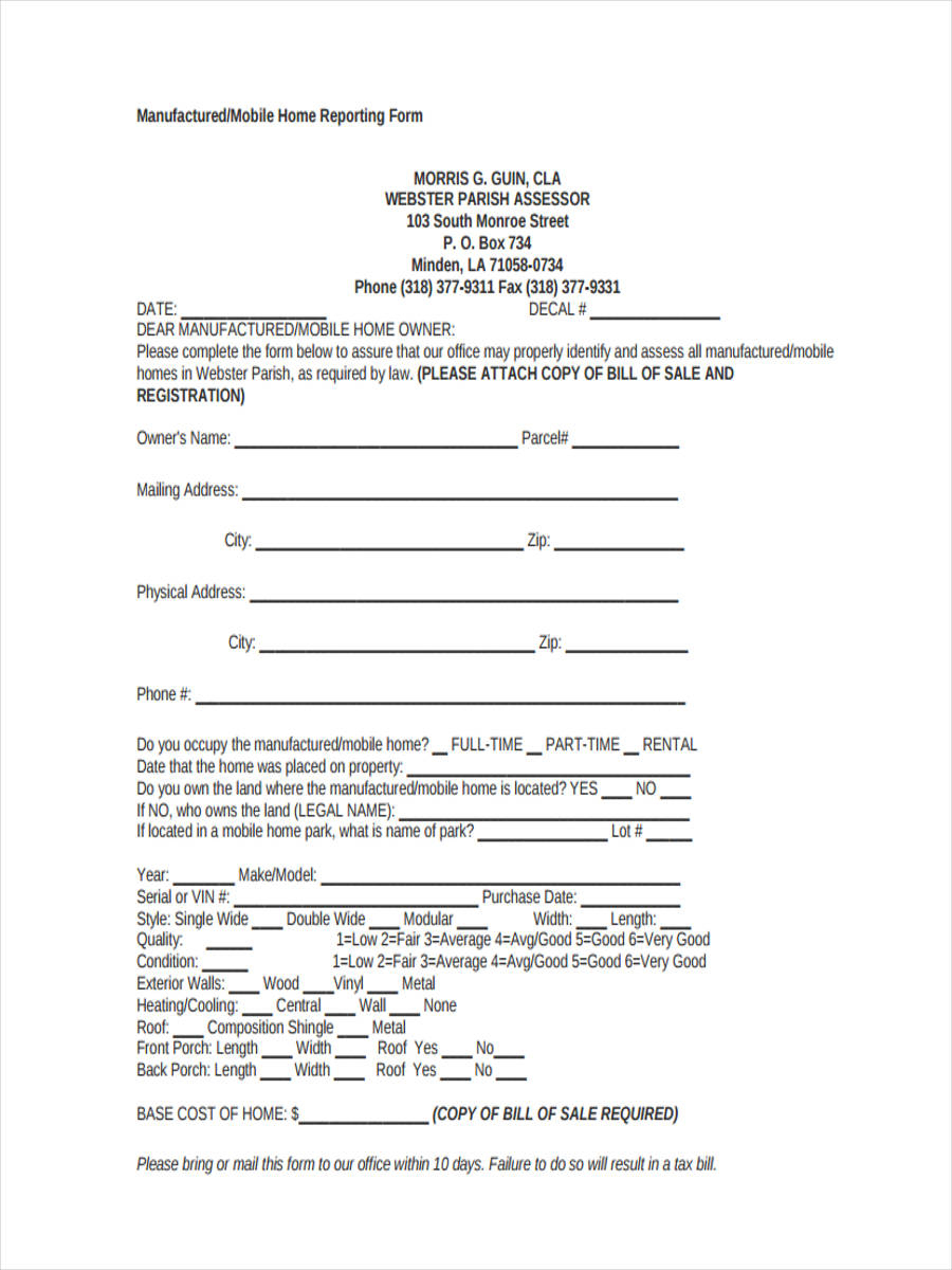 5+ Mobile Home Bill Of Sale Sample - Free Sample, Example Format - Free Printable Mobile Home Bill Of Sale