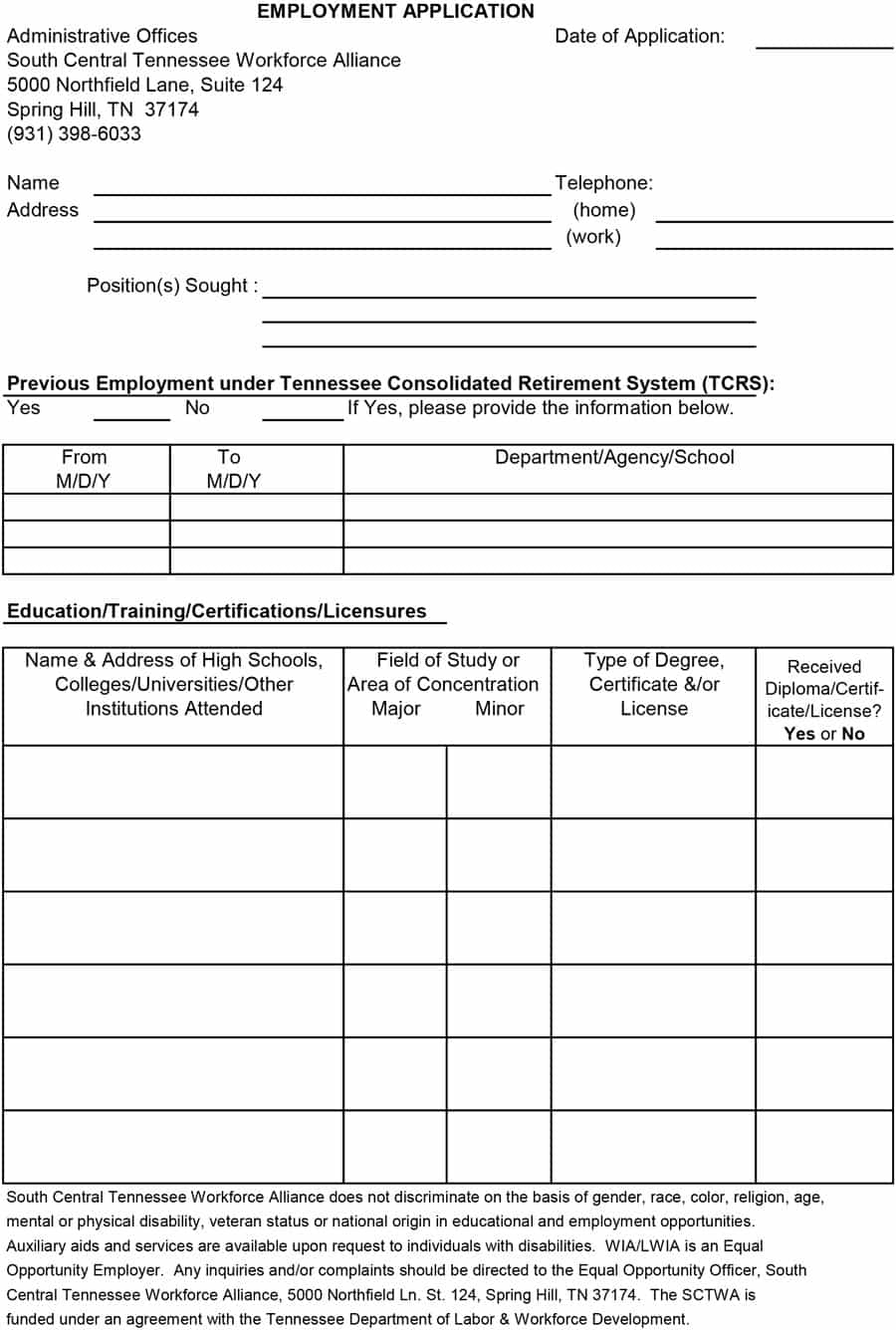 50 Free Employment / Job Application Form Templates [Printable - Application For Employment Form Free Printable