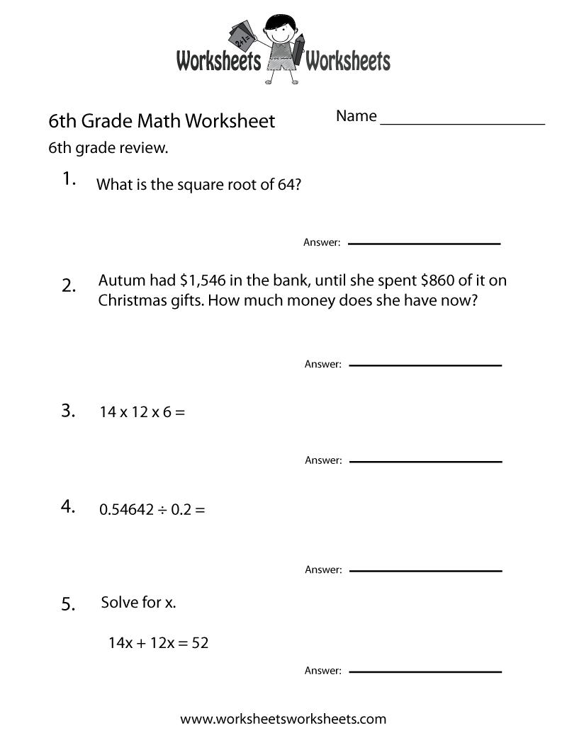 6 Grade Math Worksheets | Sixth Grade Math Practice Worksheet - Free - Free Printable 7Th Grade Math Worksheets