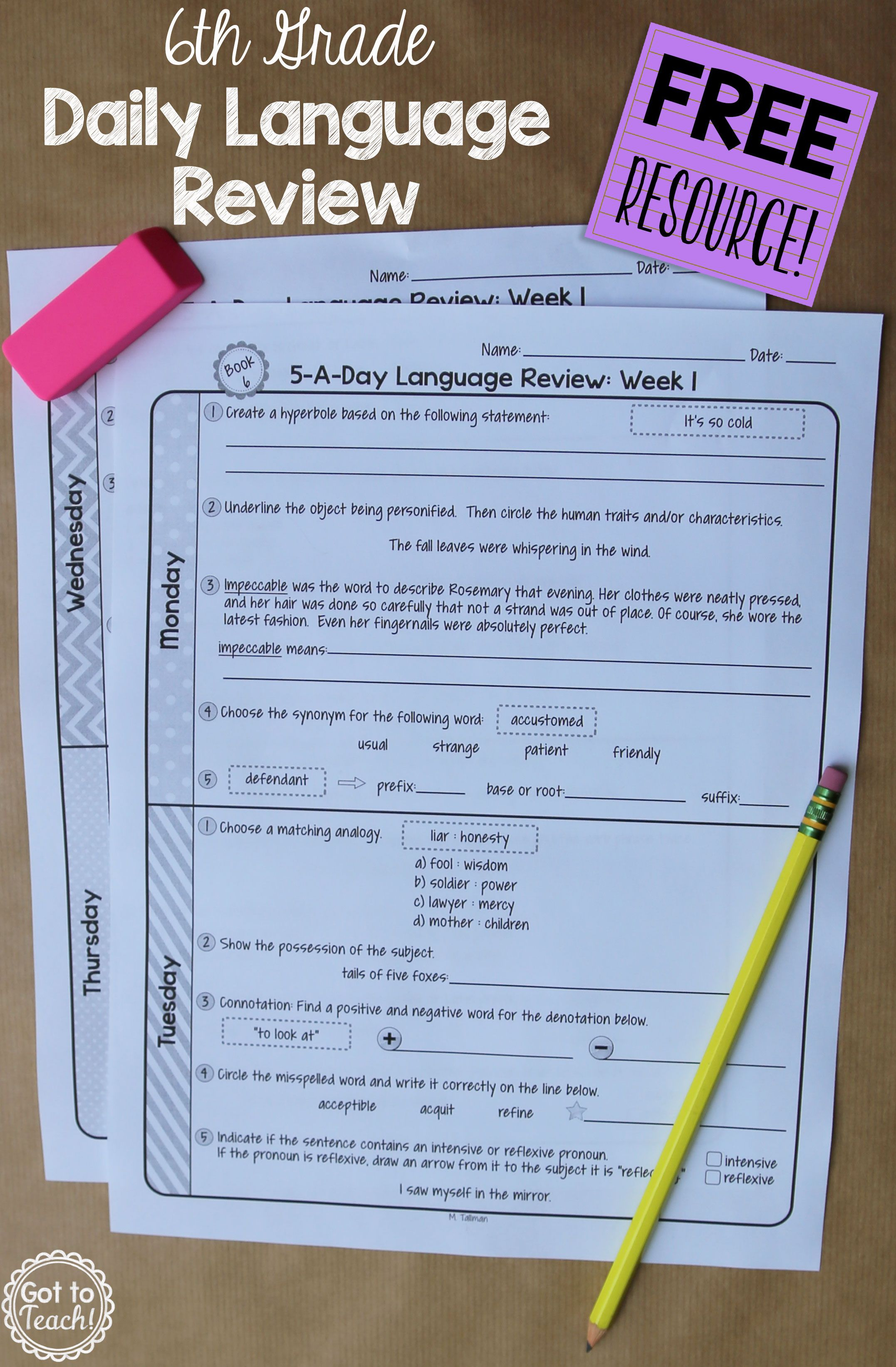 6Th Grade Daily Language Spiral Review - 1 Week Free - Daily Language Review Grade 5 Free Printable