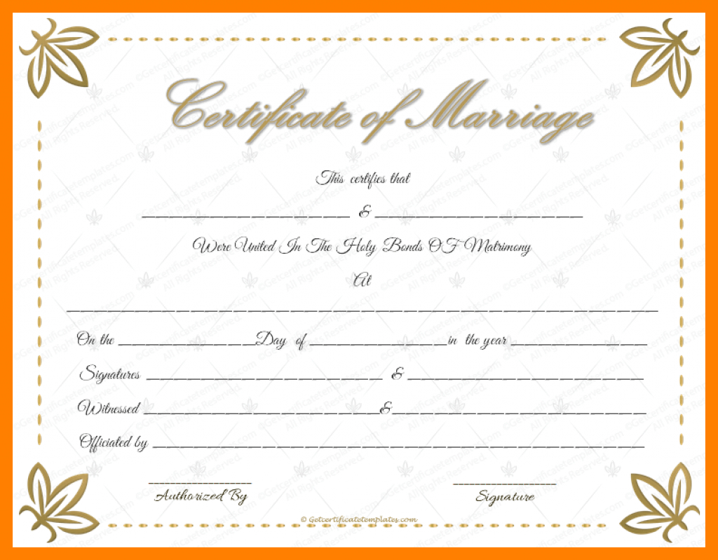 8+ Free Printable Blank Marriage Certificates | St Columbaretreat - Free Printable Wedding Certificates