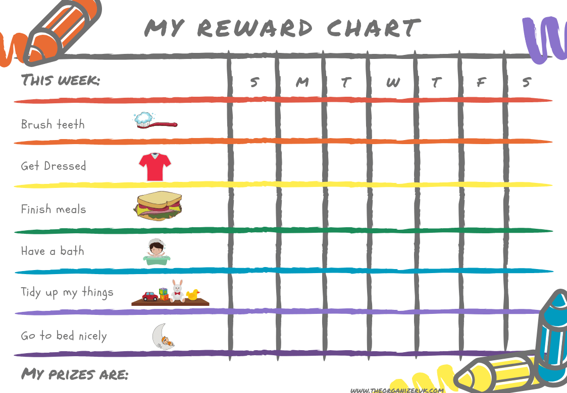 8 Of The Best Free Printable Kids Chore Charts ~ The Organizer Uk - Free Printable Reward Charts For Teenagers