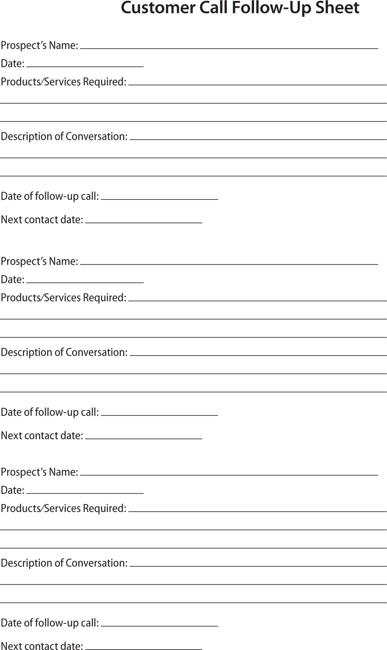 80 20 Prospect Sheet Customer Call Follow Up   Call Sheet - Free Printable Salon Sign In Sheets