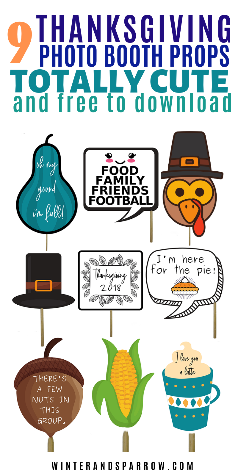 9 Totally Cute Thanksgiving Photo Booth Props (Free Download - Free Printable Thanksgiving Photo Props