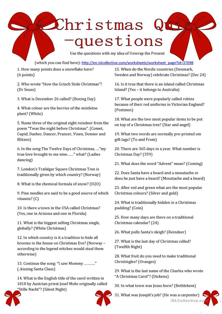 A Christmas Quiz Questions Worksheet - Free Esl Printable Worksheets - Free Christmas Picture Quiz Questions And Answers Printable