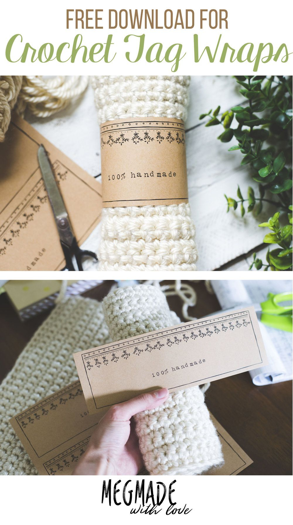 A Free Download For Crochet Tag Wraps   * Crochet   Crochet - Free Printable Dishcloth Wrappers