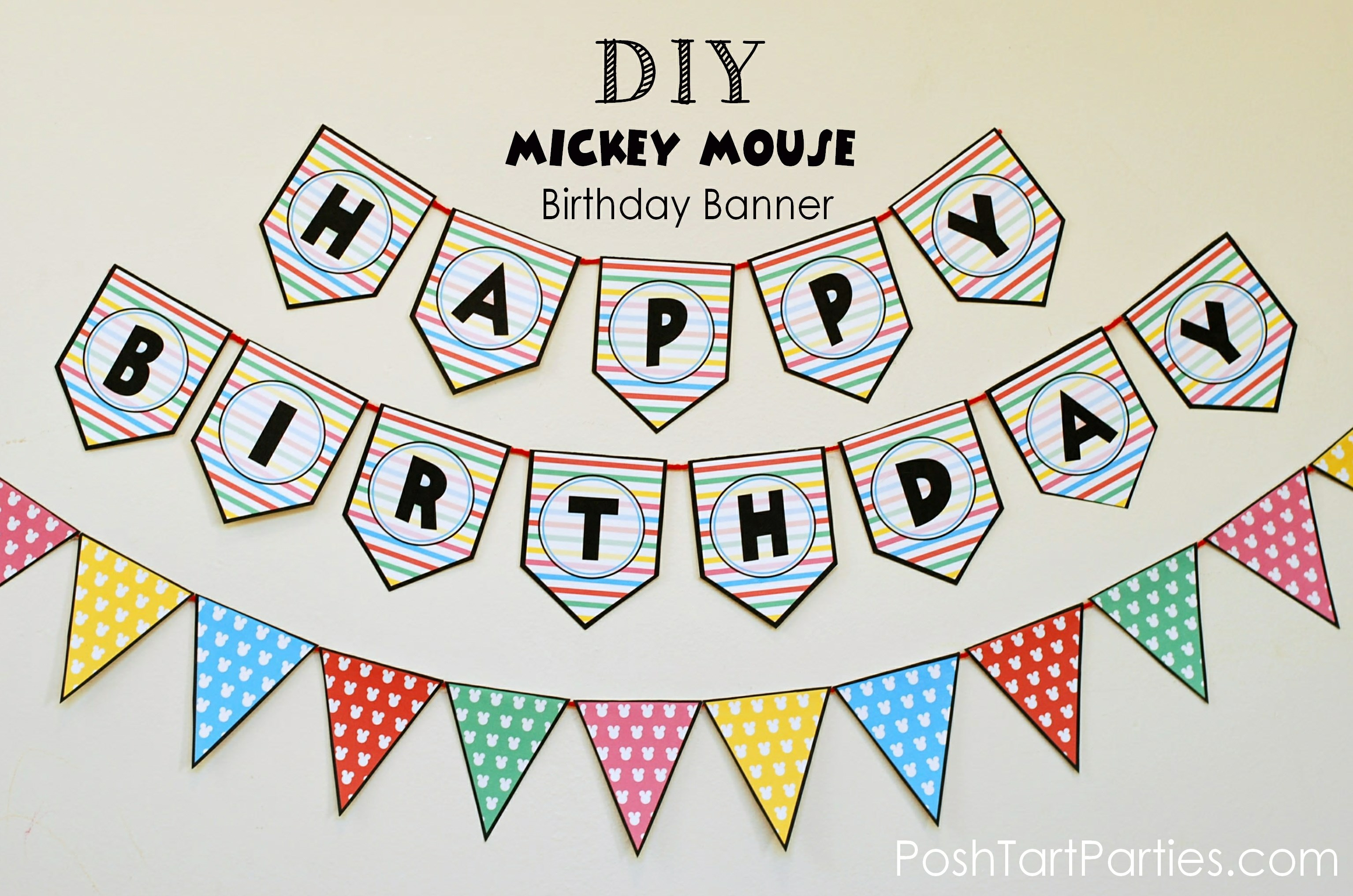 A Mickey And Minnie Mouse Party – Free Printable Happy Birthday - Free Printable Minnie Mouse Birthday Banner