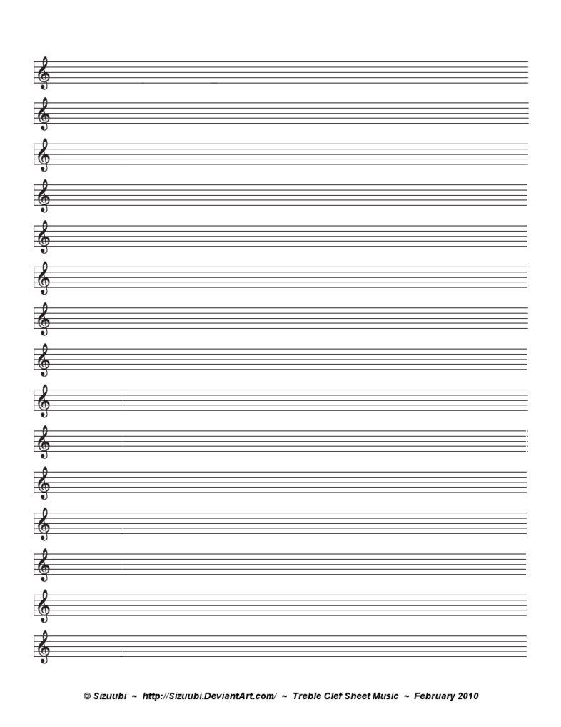 A Simple, Blank Sheet Of Music For Musicians Hoping To Write In - Free Printable Music Staff