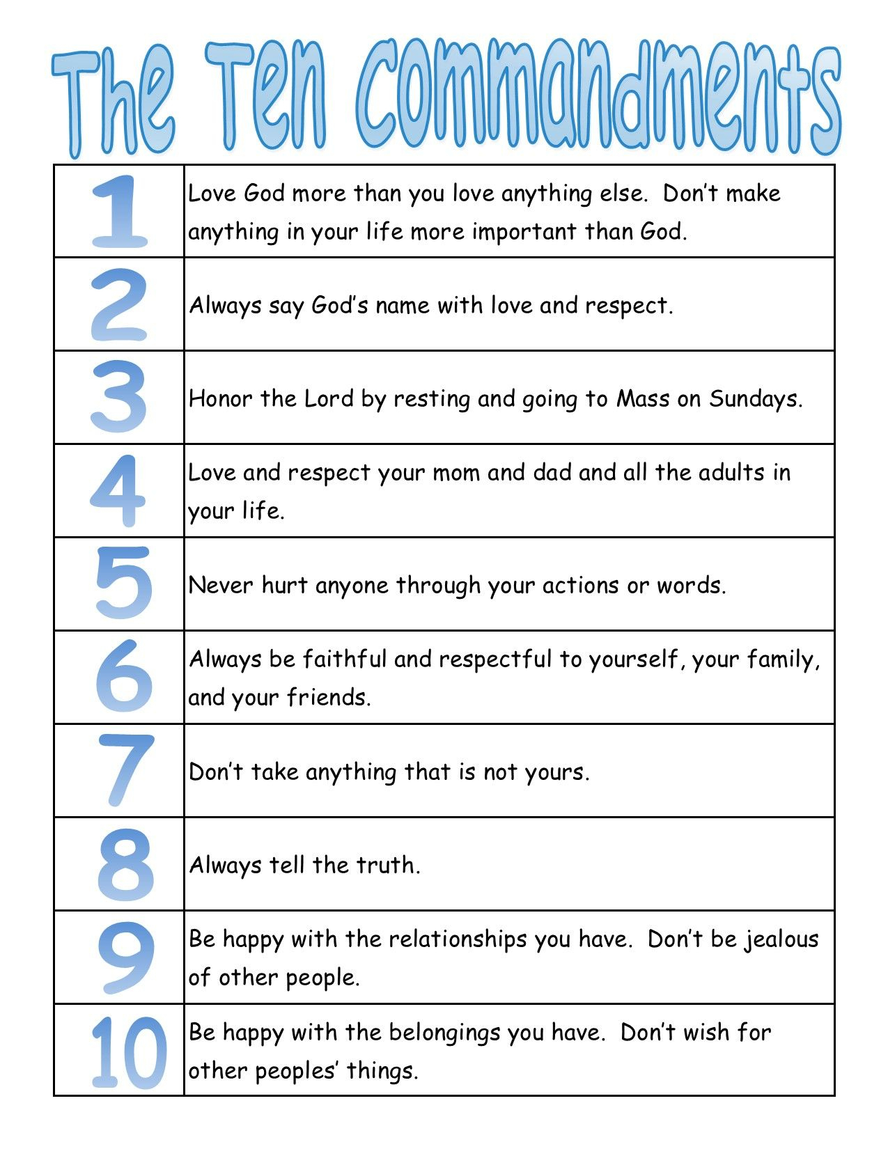 A True Catholic Version Of The Ten Commandments, For Kids | The Bible - Free Catholic Ten Commandments Printable