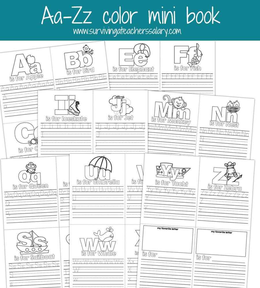 Aa-Zz Alphabet Letter Mini Color Book Practice Printable - Free Printable Bat Writing Paper