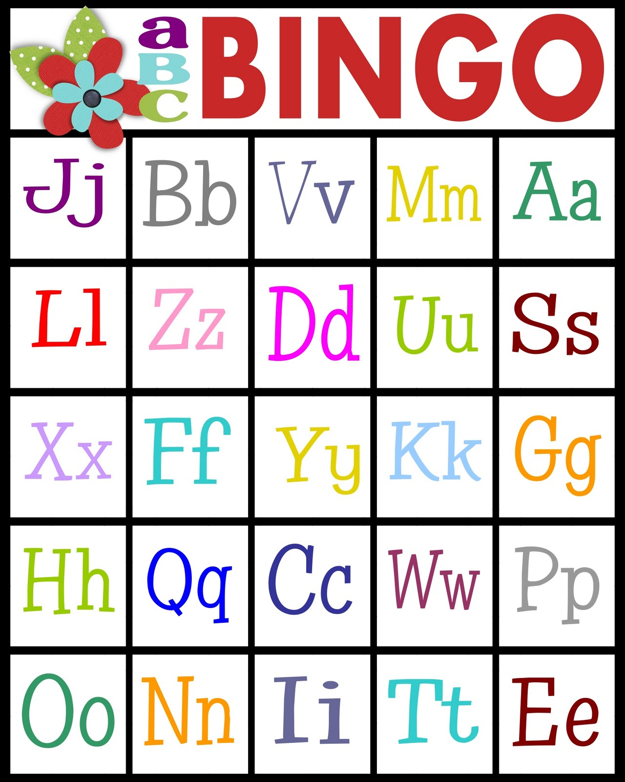 Abc Bingo | 4Peatssake - Free Printable Bingo Cards 1 100