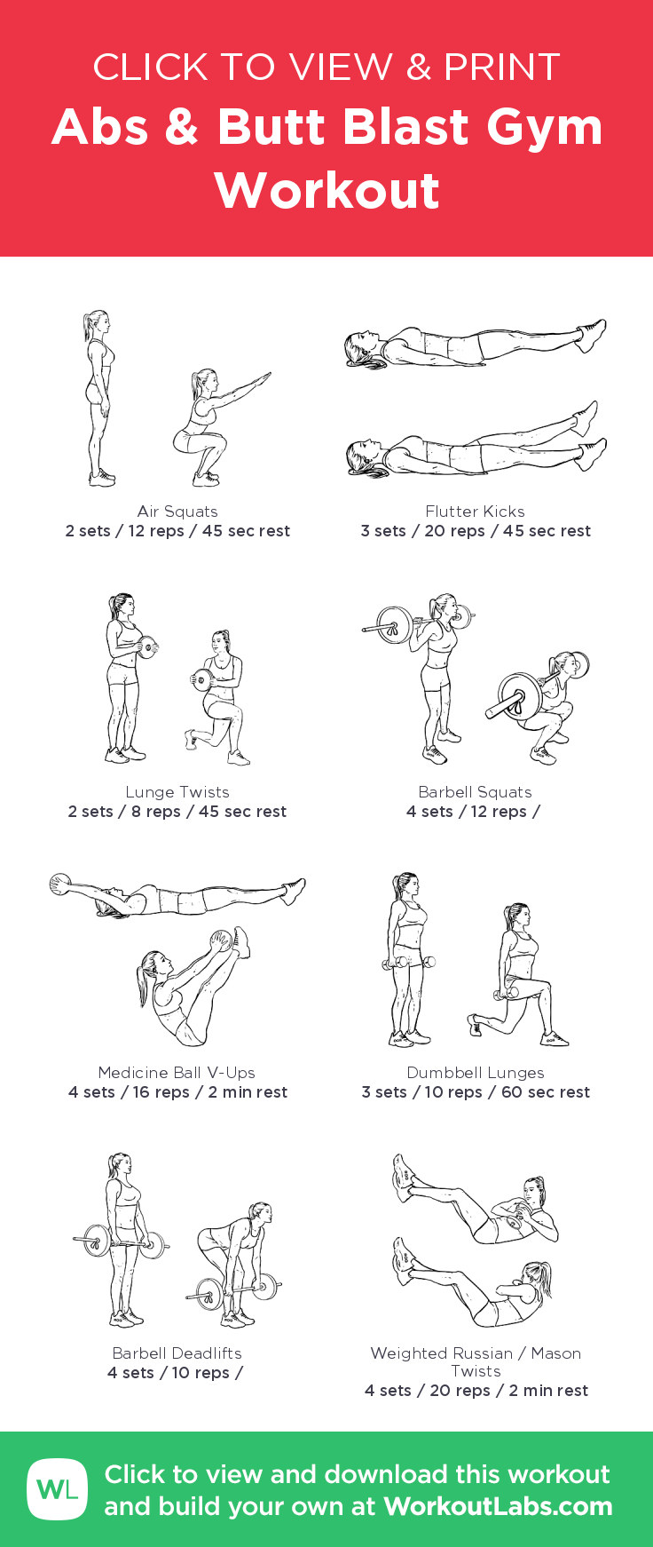 Abs & Butt Blast Gym Workout – Illustrated Exercise Plan Created At - Free Printable Gym Workout Plans