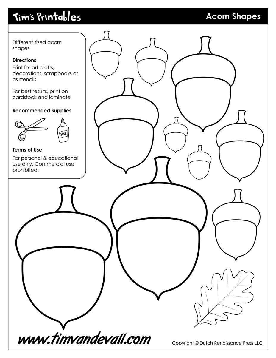 Acorn Templates / Acorn Shapes | Preschool: Fall | Pinterest | Fall - Acorn Template Free Printable