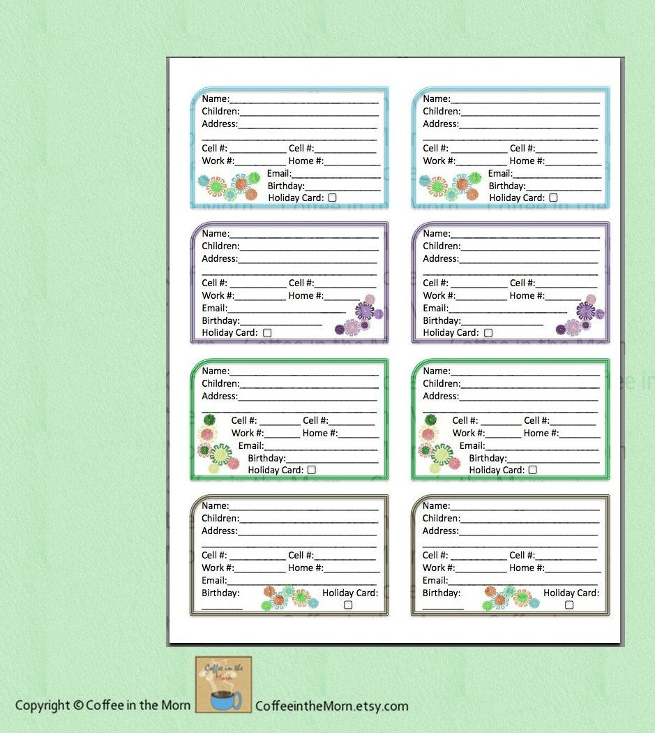 Address Book Contact List Pdf Printable Digital Download - Free Printable Address Book