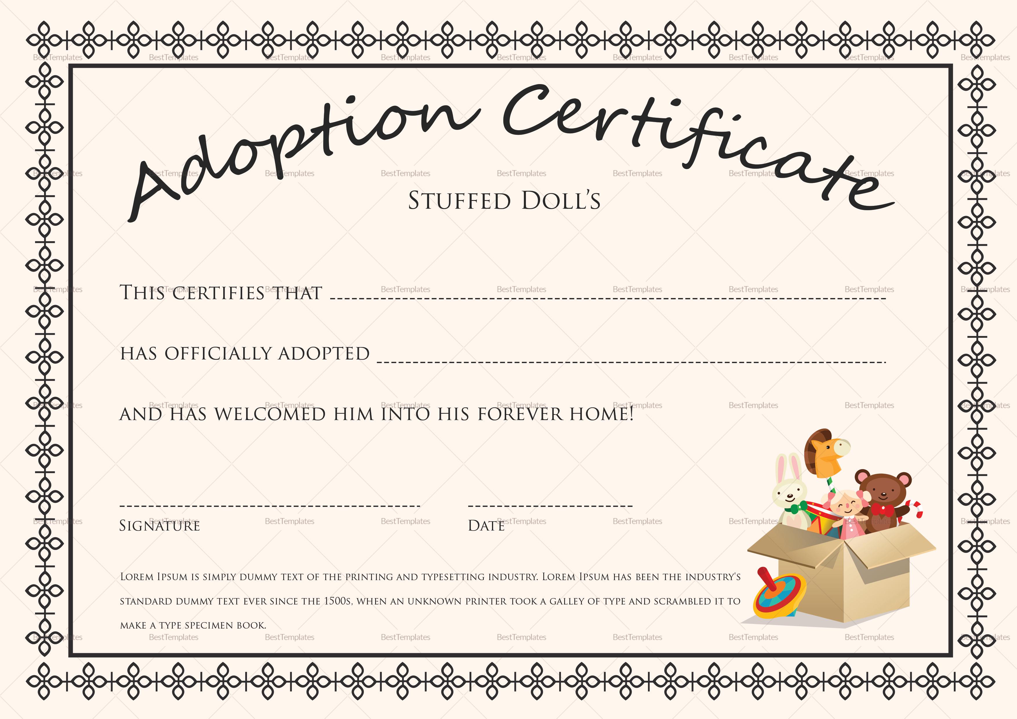 Adoption Certificate Template 40 Real Fake Templates Printable - Fake Adoption Certificate Free Printable