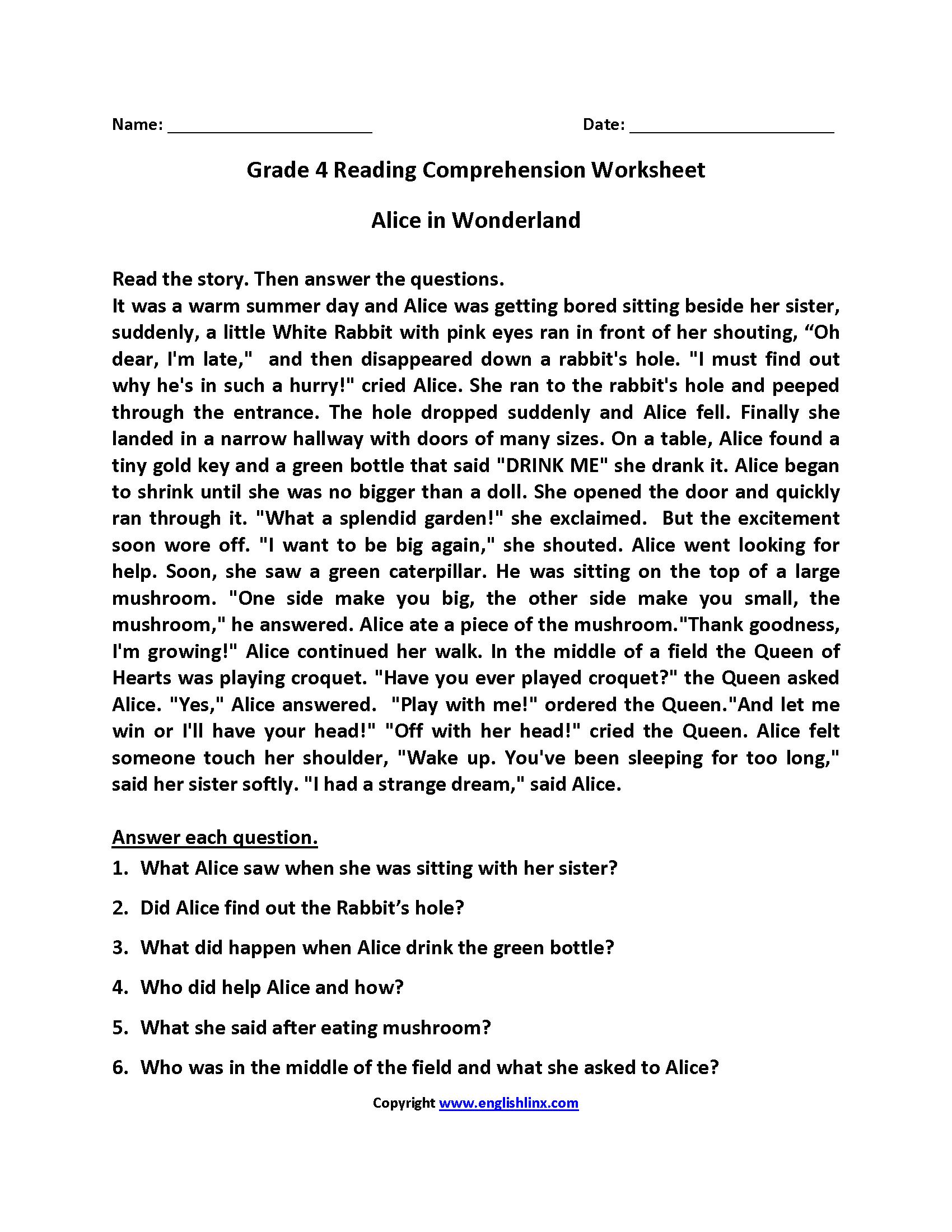 Alice In Wonderland Fourth Grade Reading Worksheets | Esl - Free Printable 4Th Grade Reading Worksheets