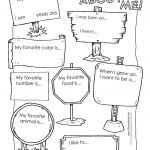 All About Me Preschool Template | 6 Best Images Of All About Me   Free Printable All About Me Worksheet